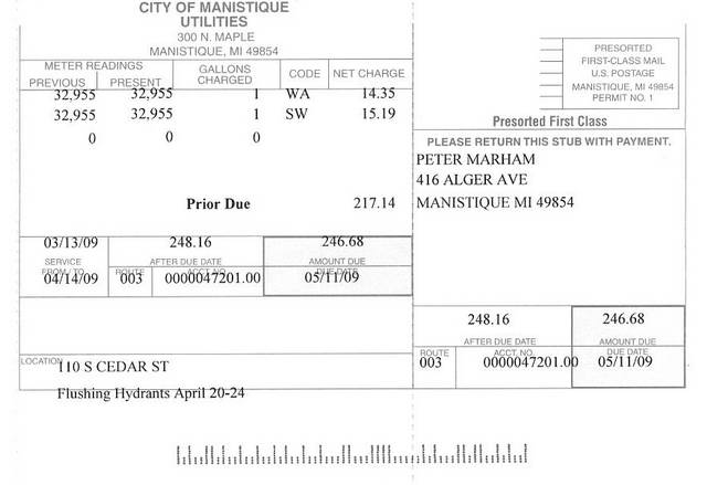 City of Manistique - 1 gallon of water for 246.68 dollars front.jpg