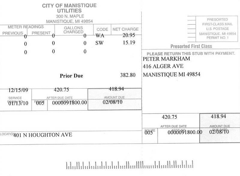 401 N Houghton water sewer bill of 011310