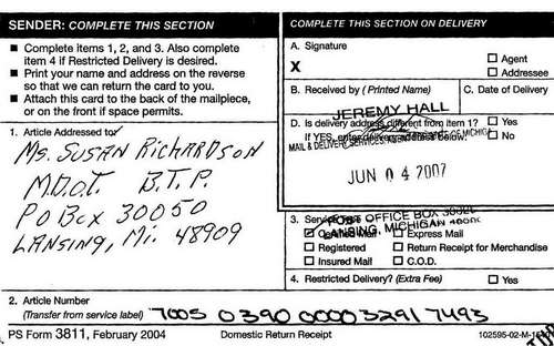 Certified mail receipt for Burn's documents to M.D.O.T.'s Susan Richardson